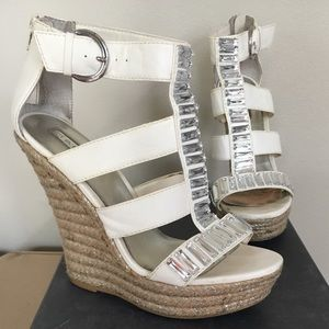 H by Halston | Vera | White + Silver Bling Wedges